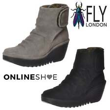 Womens Fly London Yegi 689 Pull On Ankle Boots Wedge Heel Oil Suede Black Ash