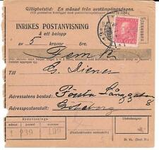 1924 Sweden Lovely Parcel Card w/ 20o Franking