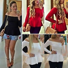 Vogue Womens Sexy Off Shoulder Round Neck T-Shirt Long Sleeve Slim Fit Tee Tops