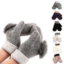 Hot Women Fashion Soft Gloves Lady Fur Wool Warm Winter Knitted Gloves Mittens