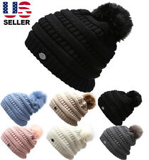 Women's Winter Slouch Cable Knitted Pom Beanie Hat with Sherpa Fleece Lining.