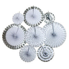 Set of 8pcs Metallic Gold/Silver Party Paper Fans Rosettes Wedding Baby Shower