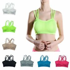 Women Padded Workout Yoga Fitness Tank Crop Top Stretch Seamless Sports Bra