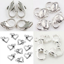 5-20PCS New Large Silver Plated Heart Fish Lobster Claw Clasps Pick Style