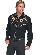 Scully Western Mens Shirt Long Sleeve Snap Embroidered Rock N Roll P-Black P-665