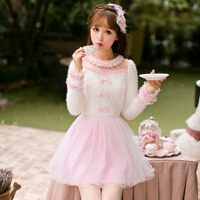 Elegant Lady Woman Sweet Lolita  Tulle Lace Bow Princess Long Sleeve Pink Dress