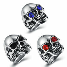 Men's Silver 316L Stainless Steel Skull Harley Biker Ring Size 8, 9, 10, 11