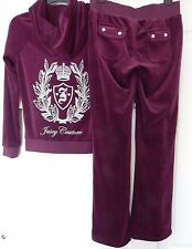 NWT JUICY COUTURE VELOUR PLEATED HOODIE & BOOTCUT PANTS TRACKSUIT PURPLE L; XL