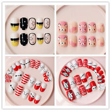 New Safe French Manicure Fake Nails 24PCS False Nail Tips with Glue