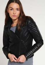 Jacket Leather Women Coat Black Genuine Lambskin Motorcycle Jacket XS-2XL FB242