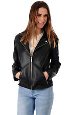 Women Leather Coat Black Genuine Lambskin Motorcycle Leather Jacket XS-2XL FB99