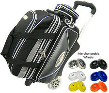 Elite Double Platinum  Roller Bowling Bag - with Wheel Color Options