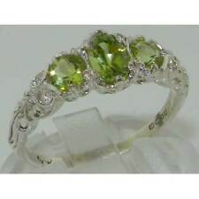 Ladies Solid Sterling Silver Natural Peridot English Victorian Trilogy Ring