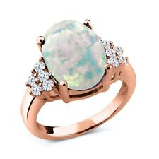 4.40 Ct Simulated Opal White Created Sapphire 18K Rose Gold Plated Silver Ring