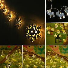 Warm White Battery Operated LED Metal String Lights Christmas Xmas Lamp Decor