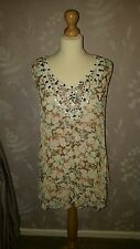 Ladies Crinkle Print Beaded Vest Top Lined, Holiday, Summer Size 10,12 & 16 BNWT