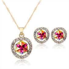 Attractive Lady Womens Crystal Gold Plated Diamond Earrings Necklace Jewelry Set