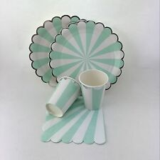 Mint&Silver Wedding Tableware Supplies Striped Paper Party Plates Cups Napkins