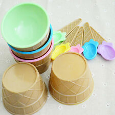 Cute kids Ice Cream Bowls Ice Cream Cup Dessert Container Holder with Spoon