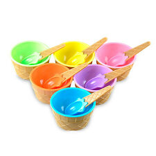 New kids Ice Cream Bowls Ice Cream Cup Dessert Container Holder with Spoon