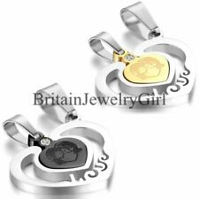 Mens Women Couple Love Heart Stainless Steel Necklaces Chain Valentine Gift 2pcs