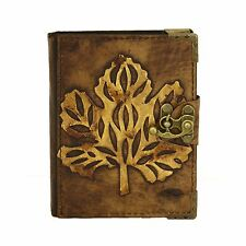 Old Winter Leaf Handmade Leather Journal Notebook Diary Sketchbook Book