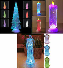 SWIRLING LED COLOUR CHANGING FLAMELESS GLITTER TREE ANGEL CANDLE LIGHT XMAS NEW