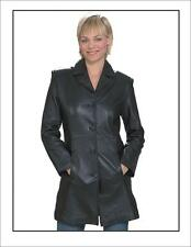 Womens Light Weight Long Black Genuine Leather Jacket New Size XS-4XL