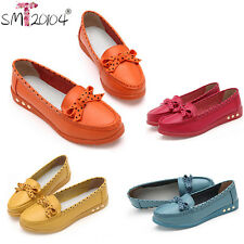 Women Bowknot Leather Flats Shoes Slip On Casual Leisure Oxfords Shoes Loafers