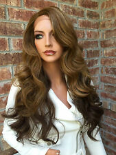 European 100% Real Human Hair Wigs Long Brown Wavy Lace Front Wig Full Lace Wigs