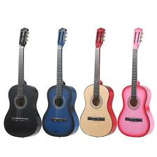 "New 38"" 6-String Folk Acoustic Guitar for Beginners Students Gift Pink L2M3"