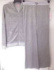 NWT JUICY COUTURE VELOUR TRACKSUIT HOODIE & BOOTCUT PANTS GREY LUREX SIZE S; XL