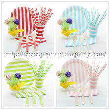 Party Supply Decor Tableware Set Paper Straws+Cups+Plates+Napkins+Wooden Utensil