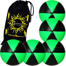 ASTRIX Pro Thud UV Juggling Balls - Set of 5 juggling balls + Bag (GREEN)