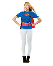 Women's Supergirl Super Girl T-Shirt With Cape Costume