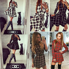 Womens Bodycon Plaid Blouse Pullover Sweater Jumper Long Tops Shirts Short Dress