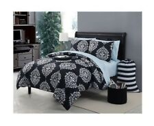 NEW Twin XL Full Bed Bag Black White Damask 10 pc Comforter Ottoman Sheets Set