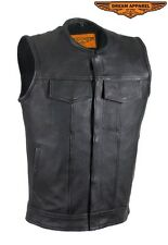 """Mens 1/2"""" Collar Motorcycle Genuine Cowhide leather Club Vest With Gun Pockets"""