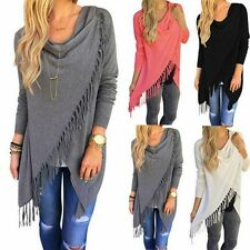 US Women Loose Casual Blouse Long Sleeve Shirt Tops Fashion Fringe Cotton Blouse