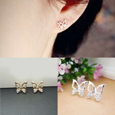 Stylish Women Golden Silver Plated Butterfly Rhinestone Pierced Ear Stud Earring