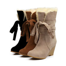 Winter Womens Snow Boots Faux suede Fur Lined Lace Up Wedge Heels Korean Shoes