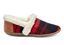 TOMS WOMENS SLIPPER RED BLACK PLAID WOOL NEW SLIP-ON SHOES SIZE 5-12