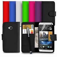Premium Leather Wallet Case Cover For HTC ONE M7 Screen Protector Big Stylus