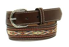 Nocona Western Boys Belt Kids Leather Overlay Oval Concho Brown N4437002