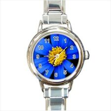 Blue Daisies Flowers Italian Charm Watch (Battery Included)