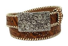 Nocona Western Womens Belt Leather Embossed Laced Edge Rhinestone Brown N3410508
