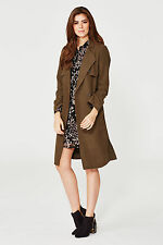 Vila Ladies Khaki Green Belted Long Trench Coat