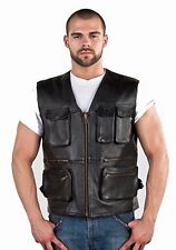Mens Genuine Naked Cowhide Leather Cargo Vest