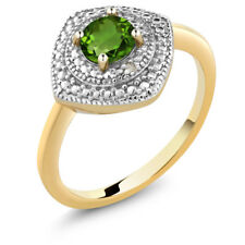 0.50 Ct Round Green Chrome Diopside & Diamond 18K Yellow Gold Plated Silver Ring