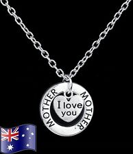 MOTHER I LOVE YOU Heart Pendant Necklace MUM Gift - Sterling Silver Option NEW